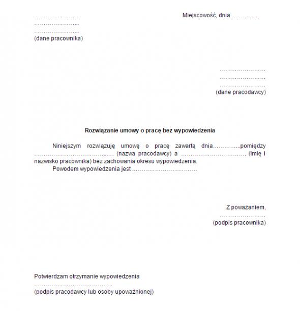 Wypowiedzenie Umowy O Pracę Wzór Wraz Z Omówieniem Poradnik